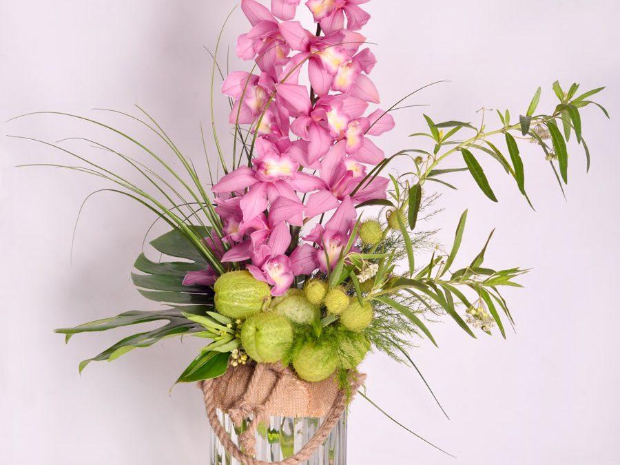 Florero Lazo con Orquídeas